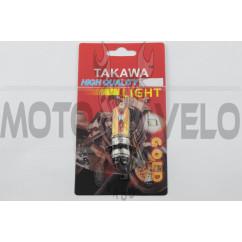 Лампа P15D-25-3 (3 уса) 12V 18W/18W (хамелеон розовый) (блистер) TAKAWA (mod:A)