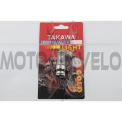Лампа P15D-25-3 (3 уса)   12V 35W/35W   (белая)   (блистер)   (S-head)   TAKAWA   (mod:A), шт