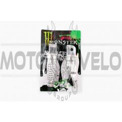 Подножки пассажирские (mod:1, серебристые) MONSTER ENERGY