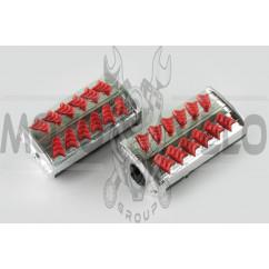 Резинки подножек водителя Delta (красные с хромированной вставкой mod:1) XJB