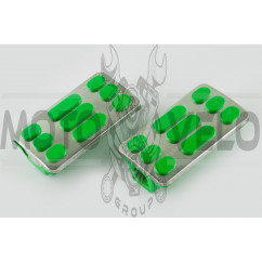 Резинки подножек водителя Delta (зеленые с хромированной вставкой mod:2) XJB