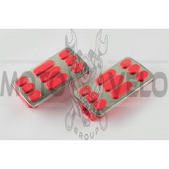 Резинки подножек водителя Delta (красные с хромированной вставкой mod:2) XJB