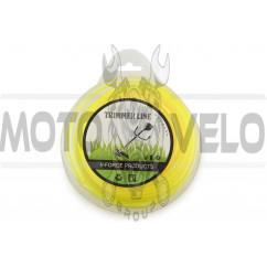 Леска мотокосы Ø2,4mm, 60 метров (звезда, желтая) YLA