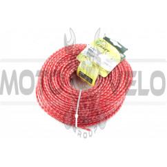 Леска мотокосы Ø4,0mm, 60 метров (косичка, красная)