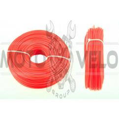 Леска мотокосы Ø2,0mm, 100 метров (звезда, красная) BEST