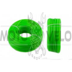 Леска мотокосы Ø3,0mm, 100 метров (звезда, зеленая) BEST