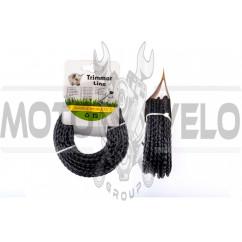 "Леска мотокосы Ø3,0mm, 15 метров (косичка, черная) ""BEST"""