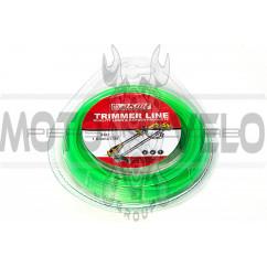 Леска мотокосы   Ø1,6mm,  15 метров   (квадрат, зеленая)   EVO