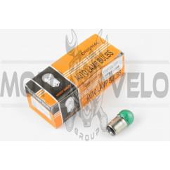 Лампа S25 (двухконтактная) 12V 10W/5W (стоп, габарит) (зеленая) ORANGE BOX
