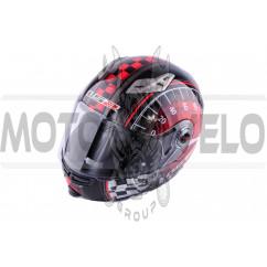 Шлем трансформер (size:ХL, красно-черный + солнцезащитные очки) LS-2