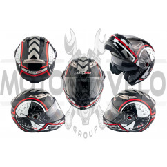 Шлем трансформер (size:L, бело-черный + солнцезащитные очки) LS-2