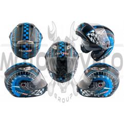 Шлем трансформер (size:ХХL, сине-черный + солнцезащитные очки) LS-2