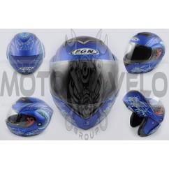 Шлем трансформер (mod:J) (size:XL, синий матовый c узором) FGN