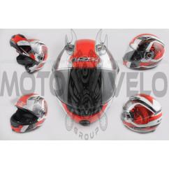 Шлем трансформер (size:XL, красно-белый, + солнцезащитные очки, EUROPE) LS-2