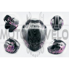 Шлем трансформер (mod:J) (size:XL, черный с узором, FLOWER) FGN
