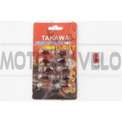 Лампа Т10 (безцокольная) 12V 3W (габарит, приборы) (красная) TAKAWA