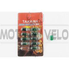 Лампа Т10 (безцокольная) 12V 3W (габарит, приборы) (зеленая) TAKAWA