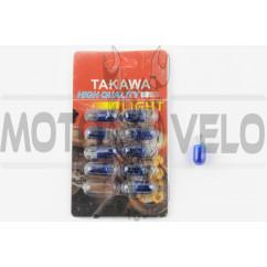 Лампа Т10 (безцокольная) 12V 3W (габарит, приборы) (синяя) TAKAWA