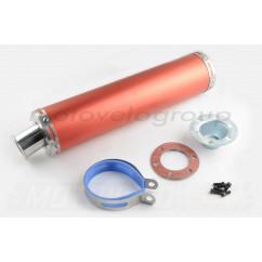 Глушитель (тюнинг) 420*100mm, креп. Ø78mm (нержавейка, красный, прямоток, mod:1)