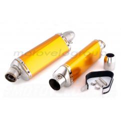 Глушитель (тюнинг) 460*130mm (нержавейка, три-овал, оранжевый, прямоток) 118