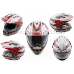 Шлем кроссовый (mod:GS-14) (с визором, size:XL, бело-красный) GSB