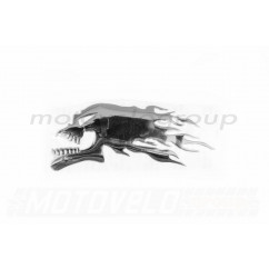 Наклейка шильдик FIRESKULL (14x5см, алюминий, хром) (#4744)