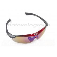 Очки спортивные KML (красные, прозрачные стекла) (mod:WL-0006)
